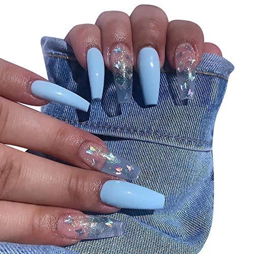 Sarg Künstliche Nägel Lange Ballerina Falsche Nägel Glänzend Bling Kristall Französisch Falsche Fingernägel 24 Stück Acryl Kunst Drücken Sie auf die Nagelspitzen für Frauen und Mädchen