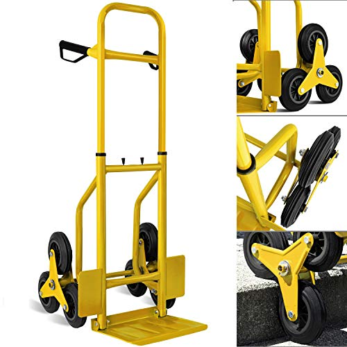 MASKO® Treppenkarre Sackkarre 200kg Transportkarre Treppensteiger Stapelkarre, klappbar Treppensackkarre Hartgummireifen | Kunststoff Griffe | Stahl Rahmen | Gelb