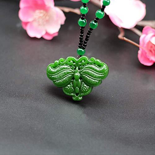 Minekkyes Colgante de Mariposa de Jade Verde Chino Colgante Collar Cuentas jadeita Natural Tallado a...