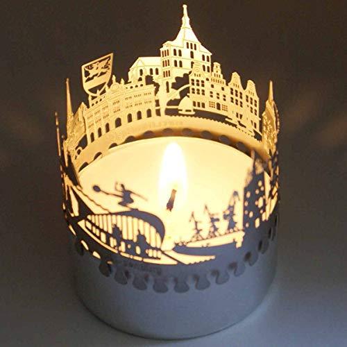 Rostock-Skyline Windlicht Schattenspiel Souvenir, 3D Edelstahl Aufsatz für Kerze inkl. Karte