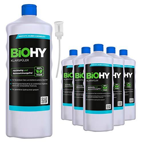BiOHY Abrillantador (6 botellas de 1 litro) + Dosificador   Apto para todos los lavavajillas   para un brillo inmejorable en los vasos y platos sin manchas de agua (Klarspüler)