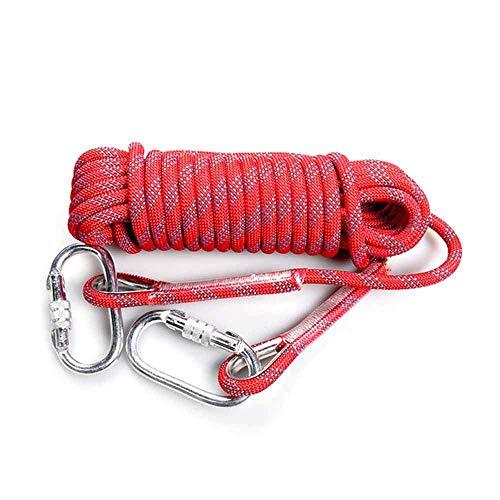 Montañismo 20M Cuerda con mosquetón 10MM Diámetro, Caja fuerte y resistente al desgaste, multifuncional, utilizados for la pesca, montañismo, campismo, Rescate, Senderismo, Rojo HAIKE ( Color : Red )