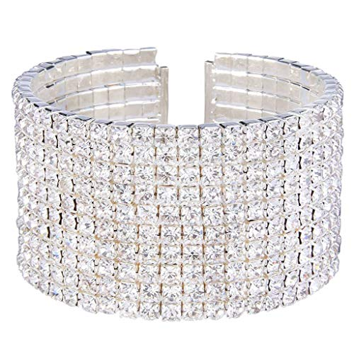Clearine Women's Wedding Bridal Disco Ball Inspired Crystal Open Stretch Bracelet Clear Silver-Tone