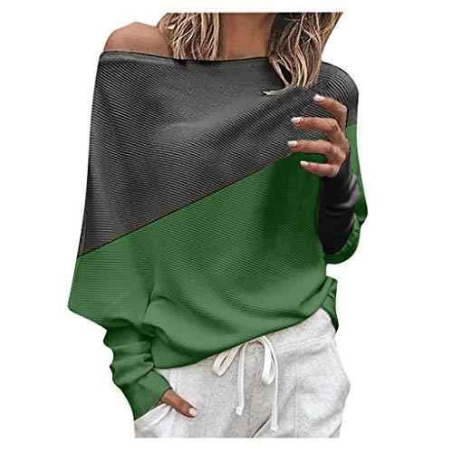 Sweat-Shirt Femmes,FNKDOR Femme T-Shirts à Manches Longues Épaules Dénudées Tricoté Haut Pull Arrêtez-Vous en Vrac Chauve-Souris Chandail Sauteur Tops Blouse Pullover(Vert,5XL)