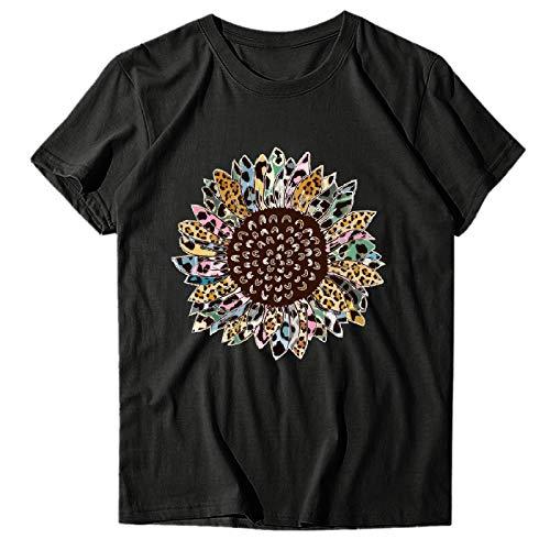 OPAKY Camiseta de manga corta para mujer, cuello redondo, estampado de girasol, estilo casual, camiseta de manga corta, Negro , XXXL