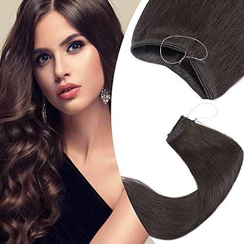 Elailite Extension Capelli Veri Filo Invisibile Trasparente Fascia Unica Senza Clip 100% Remy Human Hair Lisci Naturali Lisci 40cm 60g #2 Marrone Scuro