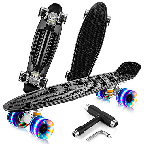RoomyRoc Skateboard Complete 22   Mini Cruiser Retro Skateboards for Kids Teens Adults, Colorful LED Light up Wheels with All-in-One Skate T-Tool, Skateboards for Beginners (Black)