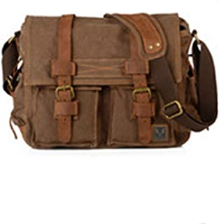 Men's Durable Large Size Canvas Travel Bag and Shoulder pad Casual Fashion Travel (Color : Brown, Size : S)