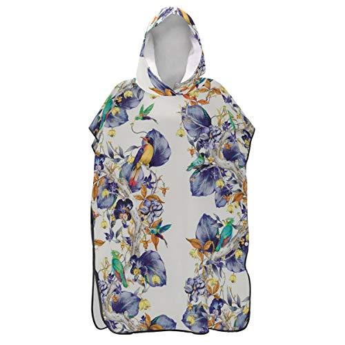LORONA blauwe kolibries patroon regenwoud strand veranderen handdoek sneldrogende strand jas veranderen mannen en vrouwen snorkelen capuchon kleding cover