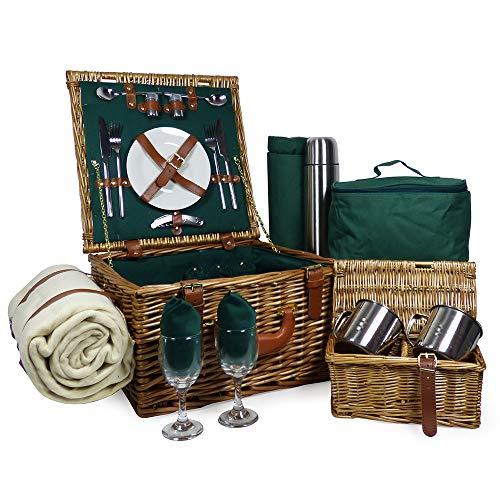 Luxuriöser Weiden Picknickkorb \'Ashby\' für 2 Personen Mit Passendem Zubehör Eine Ideale Geschenkidee Zum Muttertag Und Geburtstag
