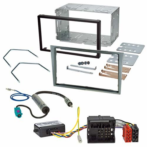 Kit di installazione (radio di luce argento di Bay + interfaccia CAN-bus e adattatore per autoradio) adatto per Opel (Vauxhall) Astra H Zafira B Corsa D Tigra Antara