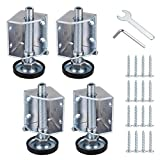 OwnMy Heavy Duty Adjustable Leveling Feet Corner Protector Guard Bracket Furniture Legs Levelers for Furniture, Table, Cabinets, Workbench, 2 Left and 2 Right Corner Leveling Legs