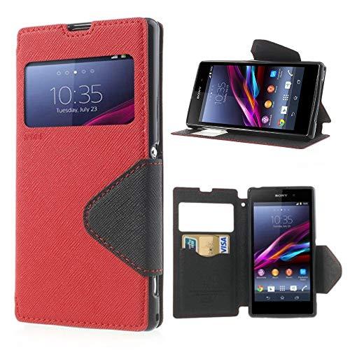 NessKa® Hülle Für Sony Xperia Z1 Compact/Mini | Hülle in Rot | Handyhülle mit Kartenfach Fenster & Standfunktion Schutzhülle Flip Case Cover Etui Book Tasche aus hochwertigem Kunstleder