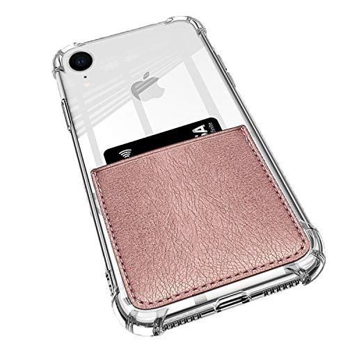 ANHONG iPhone XR Clear Case with Leather Card Holder, [Slim Fit] Protective Soft TPU Shockproof Wallet Case with Vegan Leather Card Holder for iPhone XR 6.1 Inch (2018) (Rose Gold)