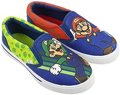 Super Mario Brothers Mario & Luigi Boys Shoes,Easy Slip-on, Nintendo, Blue, Little Kid Size 12