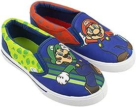 Super Mario Brothers Mario & Luigi Boys Shoes,Easy Slip-on, Nintendo, Blue, Big Kid Size 2
