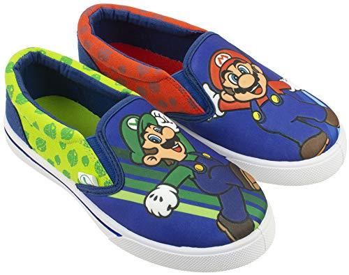 SUPER MARIO Brothers Mario & Luigi Boys Shoes,Easy Slip-on Sneaker, Nintendo, Blue, Little Kid Size 12