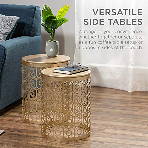 Best Choice Products Metal Accent Table, Set of 2 Decorative Round End Tables Nightstands, Coffee Side Tables for Living Room Bedroom Office, Nesting - Gold