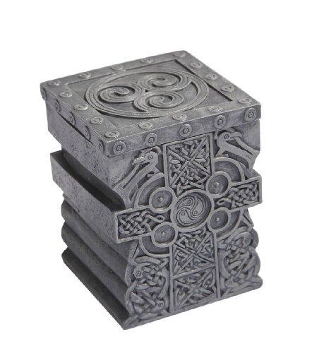PTC 3.5 Inch Engraved Celtic Cross Jewelry/Trinket Box with Lid Figurine