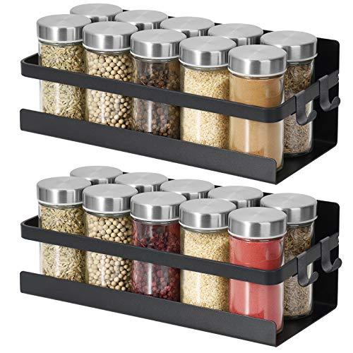 2 mensole magnetiche per spezie, da appendere, per frigorifero, da parete, con calamite, portaspezie in metallo, colore nero opaco