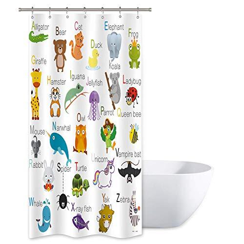 JOOCAR ABC Alphabet-Duschvorhang für Kinder, pädagogisches Badezimmer-Dekor, Stoff-Panel, lustige Lehrwörter mit 12 Kunststoff-Duschhaken
