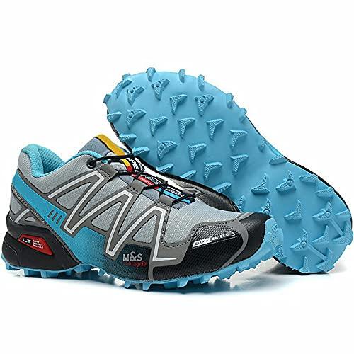 CHUIKUAJ Zapatillas de Ciclismo Zapatillas de Ciclismo Interior para Mujer Sin Bloqueo Zapatillas de Ciclismo de Montaña Impermeables Zapatillas Deportivas Al Aire Libre,Grey-38EU