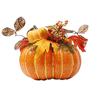 winemana Thanksgiving Decorations Artificial Pumpkin with Maple Leaves,8.8  x 8.2  Bright Orange Foam Pumpkin Clothing Maple Leaves Fall Autumn Decor for Office Bedroom Kitchen Party Harvest Day