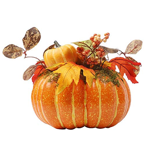 winemana Thanksgiving Decorations Artificial Pumpkin with Maple Leaves,8.8