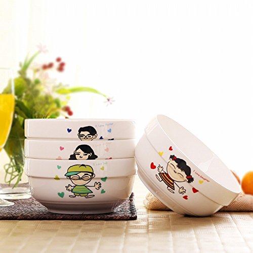 Lot de 4 Bol à Bulles Céramique 6 Pouces Bol à Riz Grand Bol à Soupe de Style Japonais,UNE