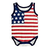WINZIK 4th of July Baby Boy Girl Bodysuit Shirt Outfit American Flag Romper Jumpsuit Infant Kids Patriotic Clothing (6-12M/Tag 80, Style 2-Sleeveless)