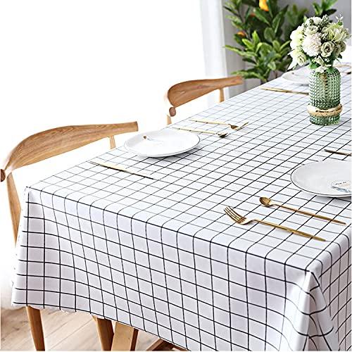 Mantel rectangular de PVC de plástico que se limpia con un trapo, impermeable, protector de mesa para cocina, pícnic, interior y exterior (blanco, 140 x 180 cm)