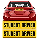 TOTOMO Student Driver Magnet Sticker - (Set of 2) 12'x3' Highly Reflective Premium Quality Car Safety Caution Sign Student Drivers #SDM02