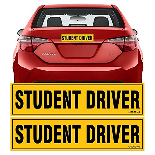 "TOTOMO Student Driver Magnet Sticker - (Set of 2) 12""x3"" Highly Reflective Premium Quality Car Safety Caution Sign Student Drivers #SDM02"