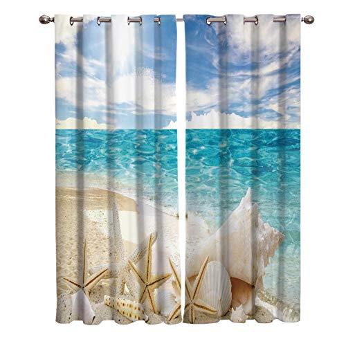 zpangg Verdunkelungsvorhang Sunshine Beach Shell Seestern Ösen Mustern Blickdichte Kurze Gardinen Für Kinderzimmer Fenster 2Er Set Je 220×215Cm