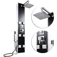 Froadp Conjunto de Ducha en Aluminum con Cabezales de Ducha y Accesorios de Giratorias con 121 Boquillas Anti-caliza(Panel de Vidrio Negro Elegante)
