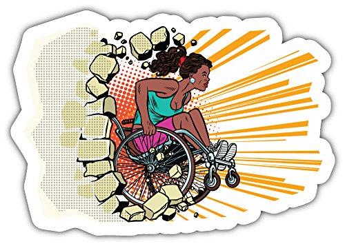 SkyBug Zwarte Vrouw Atleet In Een Rolstoel Bumper Sticker Vinyl Art Decal voor Auto Truck Van Window Bike Laptop