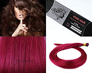 25 Strands Straight Micro Ring Links Locks Beads Keratin Stick I Tip Human Hair Extensions Color # Fuchsia Pink (Fuxia)