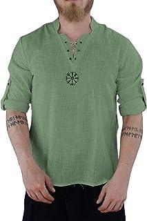 Camisetas Hombre Manga Larga Camisa Hombre Manga Larga Blusas Hombre Manga Larga Camisa de Manga Larga de algodón y Lino d...