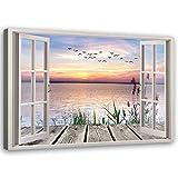 Bild auf Leinwand Fensterblick Kunstdruck modern Landschaft