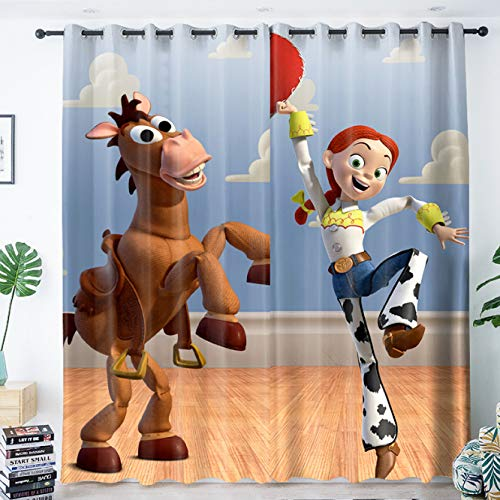 yug Curtain Simple Decoration Boy Bedroom Children'S Room Study Bay Window Floor-To-Ceiling Windows Modern Shading Anti-Noise Cartoon Toy Story