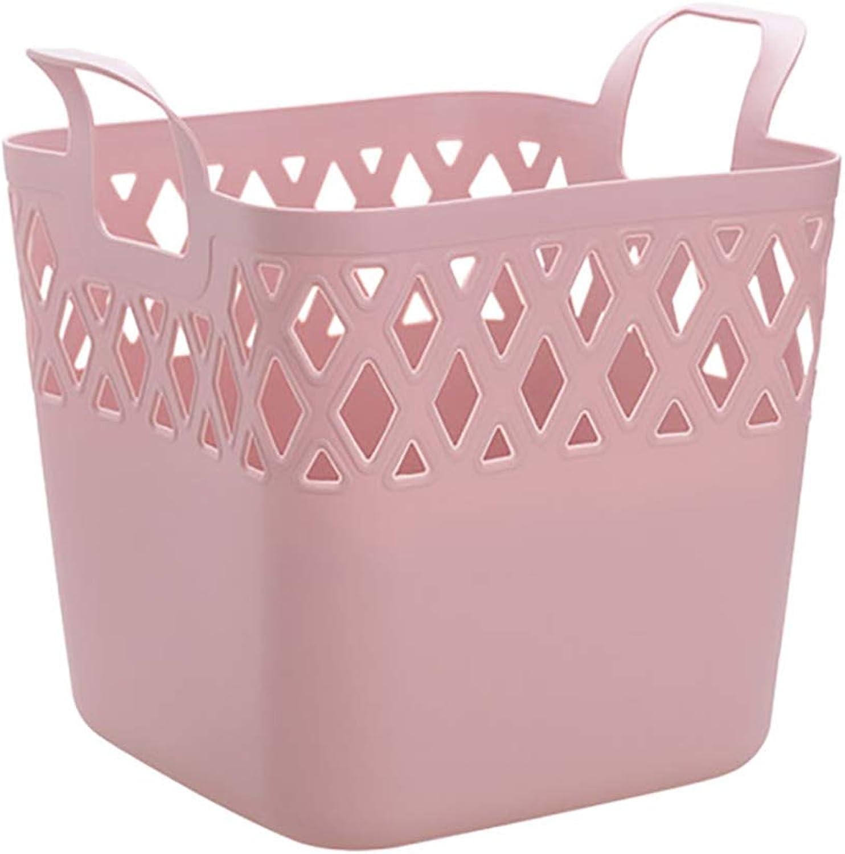 FANGFA Storage Basket Plastic Bathroom Bedroom Clothing Laundry Basket Brown and Pink (color   Pink, Size   31  31  30cm)