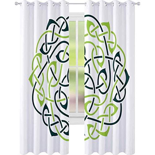 90 % – 99 % – Cortina con forro opaco, diseño de nudos celtas grandes en diseño vintage, impresión artística irlandesa, 96 x 72 pulgadas, cortinas con ojales para habitación de niñas, color verde