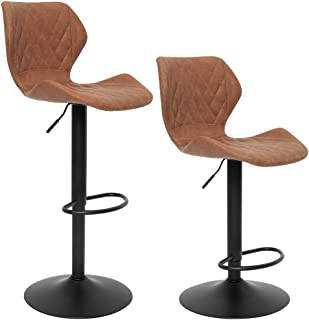 SUPERJARE Set of 2 Adjustable Bar Stools, PU Leather Swivel Barstool Chairs with Back, Pub Kitchen Counter Height, Brown