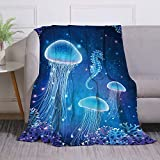Miblor Magic Glowing Jellyfish Underwater Flannel Throw Blanket for Bed Couch Sofa Super Soft Warm Plush Blanket Bedspread Gift Idea 60x80 Inch