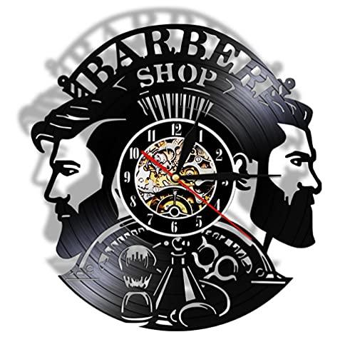 Reloj De Pared Relojes de Arte de Pared Decorativos 3D de peluquería, Reloj de Vinilo Vintage, decoración de Pared para Hombre, Relojes de salón de peluquería (30cm)