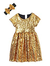 Gold Black Toddlers Sequin Dress
