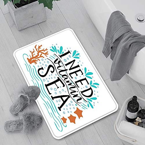 Extra Long Non-slip Bath Mats 60x100 cm,Sea,I Need Vitamin Sea Inspirational Quote Hand Drawn with Coral ,Machine Washable Floor Mat with Water Absorbent Soft Microfibers for Tub, Shower and Bath Room