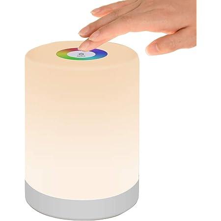 Veilleuse LED, Lampe de Table de Chevet Intelligente, Commande Tactile Dimmable, Rechargeable par USB, Portable, Changement de Couleur RGB pour les Enfants, Chambre, Camping (Blanc Chaud)