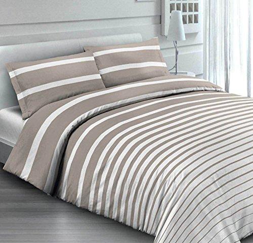Parure de lit – Riga rayé beige taupe – Rayures – Volutes – moderne et chic en coton italien – Made in Italy – Produit de qualité
