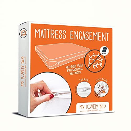 My Lovely Bed - Rénove Matelas 90x190/200 cm | Housse complète pour Matelas | Anti Acarien - Economique et Pratique - Tissu Coton - Zip de Fermeture
